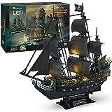 CubicFun Puzzle 3D Queen Anne's Revenge Rompecabezas 3D Nave Kit de Modelo de Barco Pirata (LED) Divertido Regalo para Nios y Adultos, 340 Piezas