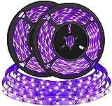 2pcs 2M Tira de LED UV, Bomcosy Tira de LED de luz negra, Tira de LED de luz prpura, puerto USB 5V, ideal para Halloween, fiesta de Navidad, pintura corporal, pintura de maquillaje de nen
