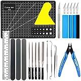 Juego de herramientas para manualidades, 17 piezas, vinilo, herramientas de acero inoxidable, accesorios para HTV, Cameos, rtulos, incluyendo ganchos desrejados, pinzas, esptula, silueta