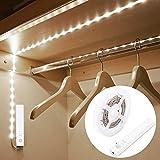 OriFiil - Tira de luces LED de 1 m, luz nocturna de 6000 K, luz blanca fra, encendido/apagado automtico, funciona con pilas para armario, cocina, escaleras, despensa, iluminacin debajo de la cama