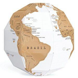 Exerz EX-SCGL20 Globo para rascar (Diámetro: 20 cm)/ Scratchable Globe, 3D Puzzle - Combinación única de Bricolaje y geografía para viajeros, exploradores, Estudiantes