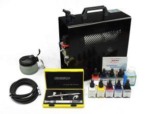 Harder & steenb Esquina Airbrush Set Completo con compresor y airbrushpistole Silver Line Two in One con aerógrafo Colores