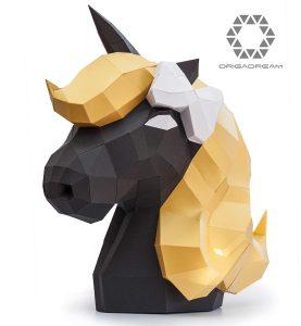 kit unicornio EDICIÓN DE ORO pre-cortado NUEVO PUZZLE 3D MODERNO montar por uno mismo para la decoración DIY PAPERCRAFT escultura de papel low poly ORIGADREAM
