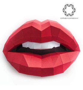 kit DIY PAPERCRAFT labios sensuales de mujer boca NUEVO PUZZLE 3D MODERNO montar por uno mismo para la decoración de la pared escultura de papel low poly ORIGADREAM