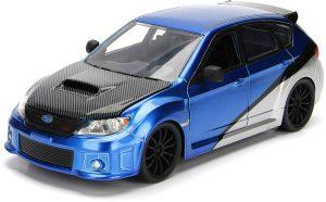 FAST FURIOUS Coche en Miniatura SUBARU IMPREZA WRX STI Scale 1/24, color Azul/Gris Brian (JADA Toys 99514BL)