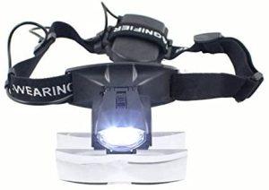 Lupa frontal 2 LED luz cabeza Lupa Gafas Lupa Lupa Gafas + 5 Lente