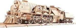 UGEARS V-Express Tren de Vapor - Set de Construcción Puzzle 3D Locomotora Modelo Mecánico de Madera