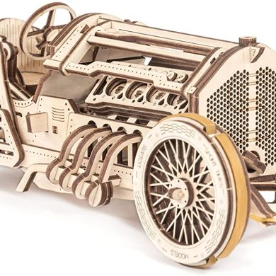 UGEARS Coche Grand Prix U-9 - Kit de Montaje Coche de carreras - 3D Rompecabezas de Madera DIY