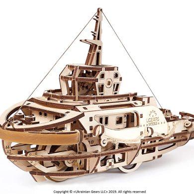 UGEARS Kit de Puzzle 3D de Madera Maqueta Mecánica de Remolcador | Manualidades Rompecabezas para Adultos | Juguete de Aprendizaje Puzle DIY para.