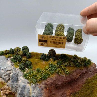 LZDseller01 12 Piezas de árboles Modelo Mixto, arbustos de Grupos de vegetación en Miniatura para Arena de Paisaje de ferrocarril de Tren Modelo, árboles Falsos para proyectos, 60x60x100 mm
