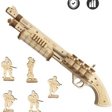 ROKR Puzzle de Madera 3D | Kit de Montaje de Pistola | Monta tu Pistola Que Dispara Gomas para Niños y Adultos (Terminator M870)