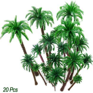 20Pc Palmeras de coco Modelo árboles Diseño del modelo Tren Palmera de selva tropical, Artificial Plastic Layout Diorama de selva tropical, Árboles modelo de construcción Cake Topper Ferrocarrile