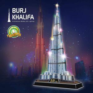 CubicFun Puzzle 3D Dubai Burj Khalifa 146cm Altura Arquitectura Kits de Modelo Edificio, Edición Nocturna con Luces Multicolores, 136 Piezas