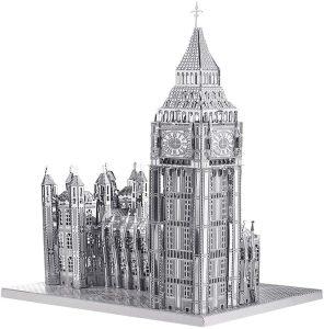 piececool Rompecabezas 3D cortadas con láser, para adultos, Big BEN-49 piezas, color plateado