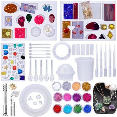 Moldes Silicona de Resina,95pcs Epoxi Mold con Herramientas Conjunto para Hacer Aretes, Joyería Colgantes,Decoraciones